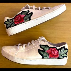 Joie Leather Embroidered Sneakers Size 6